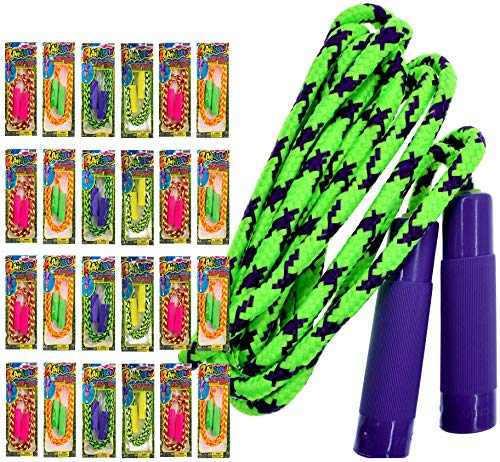 Kids Jump Rope 7ft (Pack of 24 Jump Ropes in Bulk) by JA-RU Assorted Colors Jump Ropes for Boys Girls Kids and Adults Great Party Favors Toy Kids Outdoor activities. Plus 1 Bouncy Ball 1995-24p