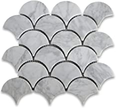 Carrara White Italian Carrera Marble Grand Fan Shaped Fish Scale Mosaic Tile Honed
