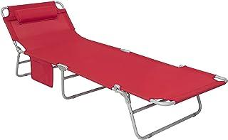 : transat de plage pliable Rouge