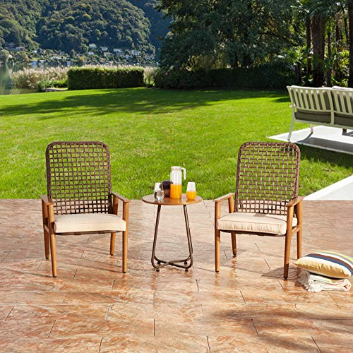 LOKATSE HOME 3-Piece Wicker Outdoor Conversation Bistro Set Patio All Weather Furniture 2 Cushioned Chairs and Side Table for Balcony Porch, Boho, Khaki