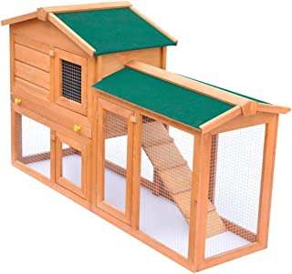vidaXL Outdoor Large Rabbit Wood Hutch Small Animal House Pet Cage Habitat