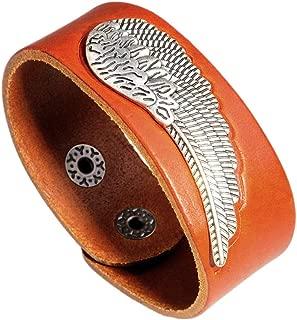 Fusamk Punk Rock Alloy Wing Wristband Leather Cuff Bracelet