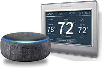 Echo Dot (3rd Gen) - Charcoal Fabric Bundle with Honeywell RTH9585WF1004/W Wi-Fi Smart Color Programmable Thermostat