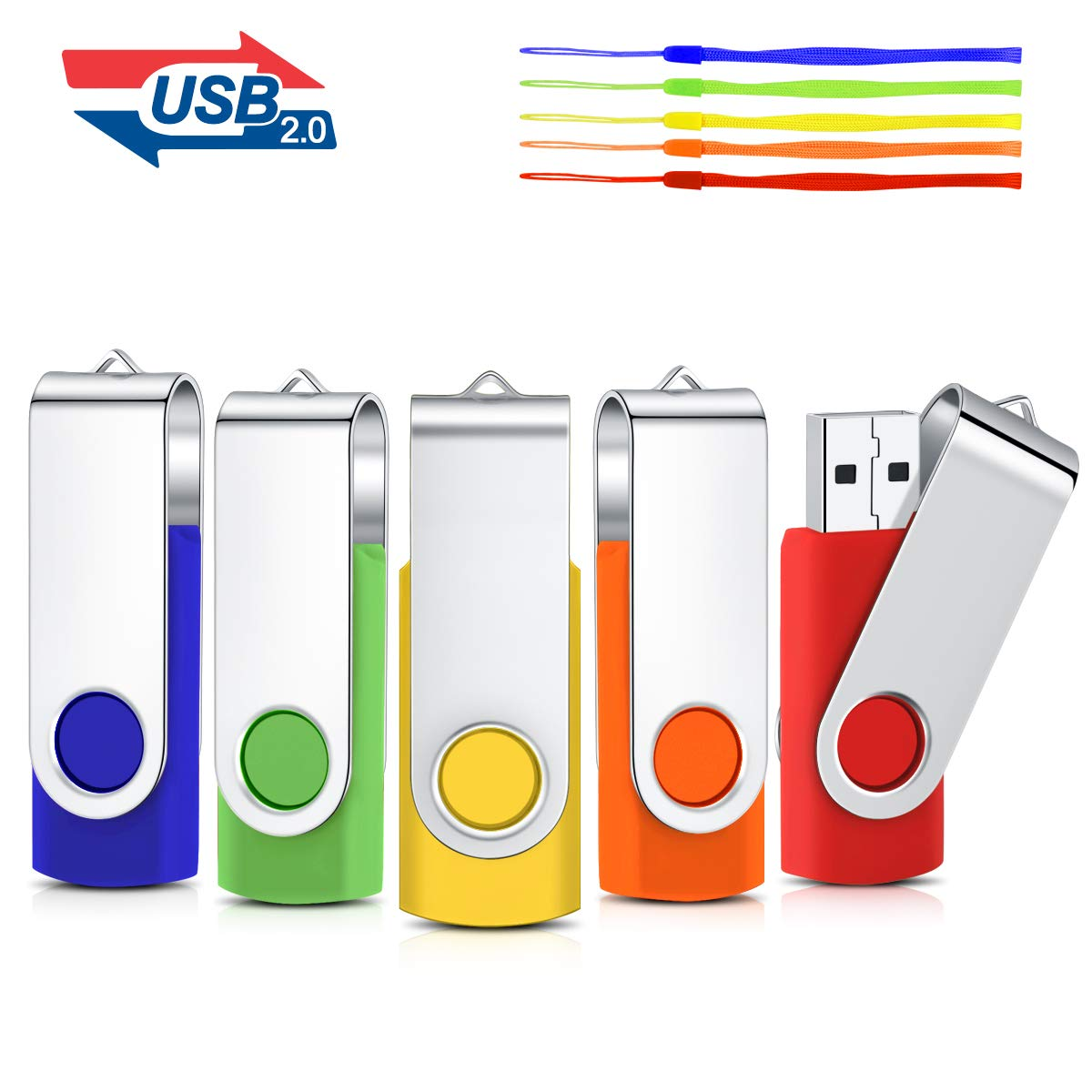 Pack de 5 memorias USB 2.0 Flash Thumb Drives multicolor Mixcolors 2 4 GB: Amazon.es: Informática