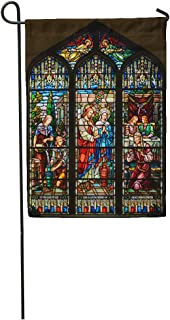 Semtomn Garden Flag Stained Glass Window of St Paul Episcopal Church Key West Home Yard House Decor Barnner Outdoor Stand 12x18 Inches Flag