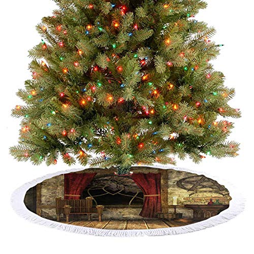 Adorise Tree Skirts Mat Room with Pentagram Symbol in Candlelight Red Curtains Mystic Medieval Chamber Print Christmas Trees Mat Decorations Indoors A Contemporary Look and Appeal - 48 Inch