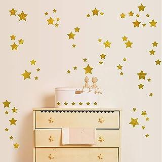 Stars Wall Vinyl Decal Decor Nursery.Baby Nordic Stars Bedroom Decoration.Kids Rooms Home Decor (Golden)