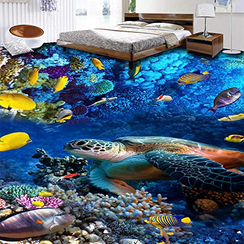 Papel de pared fotográfico personalizado Tortugas 3D Peces tropicales Coral Azulejos de suelo 3D Pinturas Murales Dormitorio de niños Sala de estar Fondos de vinilo-300 * 210cm