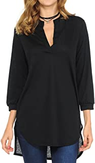 Blouses for Womens, FORUU Solid V Neck Sexy 3/4 Sleeve High Low Hem T Shirts Top