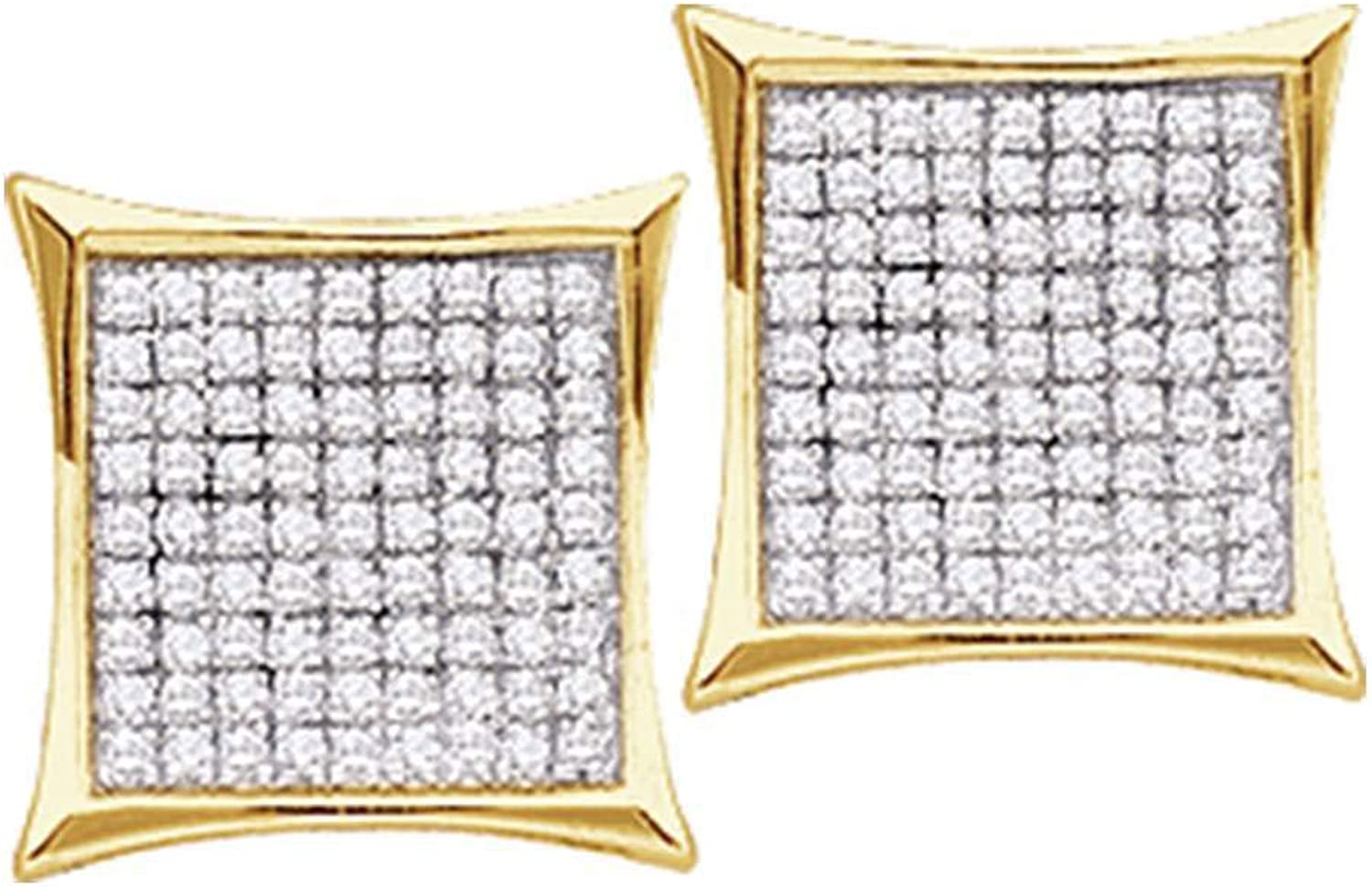 14kt Yellow gold Womens Round Diamond Square Cluster Earrings 1 6 Cttw