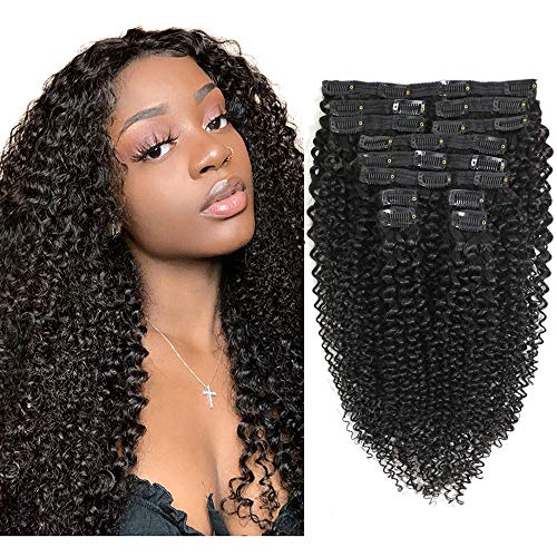 Sibaile 12Pcs Kinky Curly Clip in Hair Extensions Afro 3C 4A Kinky Curly Hair Clip Ins, Thick Sofe 8A Remy Human Hair, Double Weft Kinky Curly Clip ins, Black Color, 120g/Set, 16Inch
