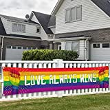 Pride Banner Rainbow Flag LGBT Decorations Love Always Wins Fists Lesbian Gay bisexual Transgender Bi LGBTQ 120' x 20' Yard Sign Party Supplies Decor Vivid Color Hanging for Outdoor Celebration Indoor Decoration House Home Garden Gathering Event