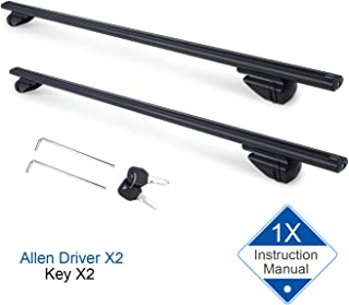 "Autekcomma 1 -Pair 48"" Car Top Roof Rack Universal Crossbars Adjustable for Raised Roof Rail with Anti-Theft Locking Anti-Corrosion Aluminum Durable Crossbars"