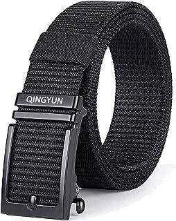 أحزمة QINGYUN للرجال، حزام بسقاطة من نسيج النايلون مع مشبك منزلق تلقائي، حزام بدون فتحات شبكية للرجال من الجينز