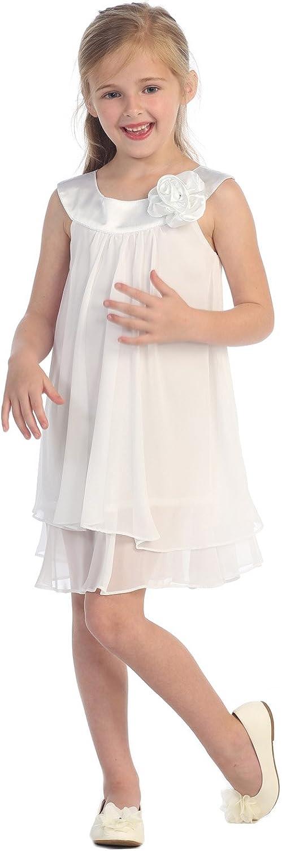 Satin Bib Neckline & Chiffon A-line Big Girls Flower Girl Dress