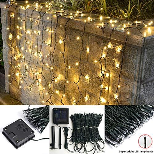 Tenda con luci solari per esterni, 4 m × 1 m, 200 LED, 8 modalità di illuminazione, a energia solare, per giardino, patio, casa, matrimonio, festa, decorazione da parete Warm White
