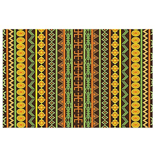 Ethnic African Pattern with Geometric Figures Folk Cultural Abstract Art Print Yellow Brown Lime Green Non Slip Rubber Mat Floor Kitchen Rugs Light Door Mat
