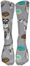 Schnauzers Donuts CuteKnee High Graduated Compression Socks for Women and Men - Best Medical, Nursing, Travel & Flight Socks - Running & Fitness 50cm