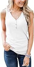 Minthunter Women's Casual Summer V Neck Tank Tops Sleeveless Button Down Shirts