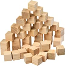 BUYGOO 120Pcs Wood Square Blocks, 1inch Blank Wooden Cubes Natural Solid Cube Wood Blocks for Puzzle Making, Crafts, and D...