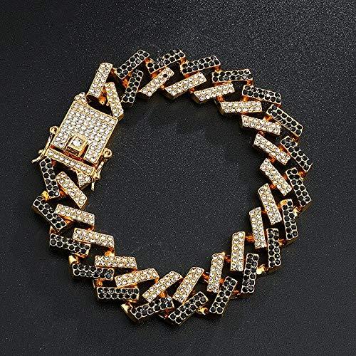 BJGCWY Pulsera de Cadenas para Hombre de Diamantes de imitación pavimentados de Cristal Helado de 15 mm para Hombres joyería 8/16/18/20 / 24in 24 Pulgadas (61 cm) Pulsera de Oro Negro