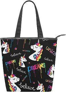 Jeansame Canvas Tote Bag Damen Shopper Top Griff Taschen Schulterhandtaschen mit Reißverschluss Süße Einhörner Regenbogen ...