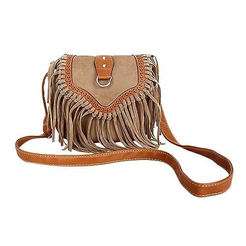 1cd97ae868 Womens Retro Vintage Tassel Fringe Saddle Suede PU Leather Small Cross Body  Bag