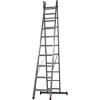 Homelux 825007 Escalera Aluminio Doble, 4 + 4 m, 2 x 15 Peldaños, 16.25 kg: Amazon.es: Jardín