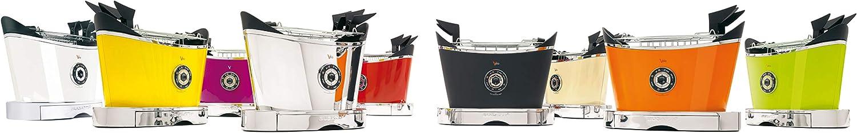 BUGATTI, Volo, Grille-Pain Électrique, 4 Fonctions, 6 Niveaux de Grillage, Design Innovant, Corps en Acier Inoxydable, Puissance 930 W (Blanc) Jaune