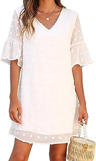 Womens White Dresses Short Sleeve V Neck Ruffle Cute Sun...