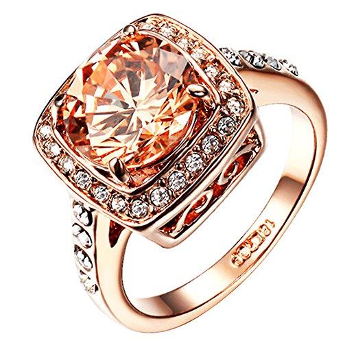 Yoursfs Diamante Donne Anelli per Festa Matrimonio Cristallo Austriaco Abito Gioielleria per Signora 18ct Rosa Oro Placcato Anelli Regalo di San Valentino di Ragazza