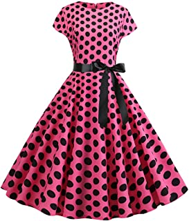 Mikilon Vintage Tea Dress 1950's Polka Dots Spring Garden Retro Swing Prom Party Cocktail Dress for Women
