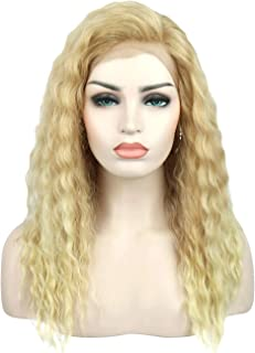 Kalyss Ombre Blonde Curly Wavy Synthetic Hair Lace Front Wig for Women Premium Heat Resistant Kanekalon Synthetic Hand Tied Ear to Ear Lace Frontal Full Head Wig,Super Natural and Soft