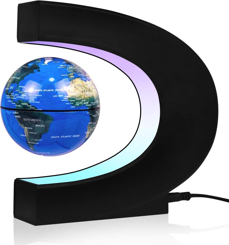 azul decoraci/ón de oficina JOWHOL C im/án globo terr/áqueo con iluminaci/ón LED con mapa del mundo regalo de cumplea/ños