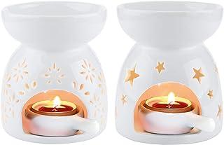 ComSaf 陶器製 アロマポット アロマキャンドルホルダー 茶香炉 花形、星形 ホワイト 2点セット 誕生日 ギフト