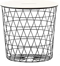 End Table Side Table Nightstand Coffee Table Basket Side Table with Metal Grid Sofa Tables End Tables Coffee Tables for Li...