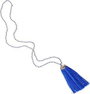 Hand Knotted Tassel Necklace Long Layered Chain w/Silver-Plated Beads for Women