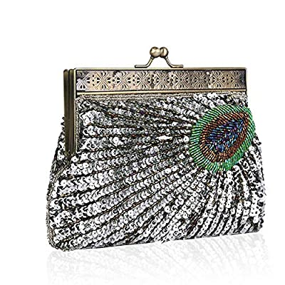 Womens Evening Designer Handbag Vintage Clutch Sequin Peacock Antique Beaded Prom Party Wedding Purse