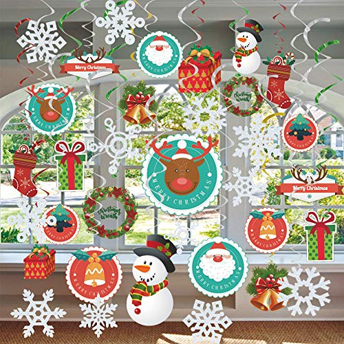 GOER 36 Pcs Christmas Decorations,Hanging Swirls for Christmas Party Supplies