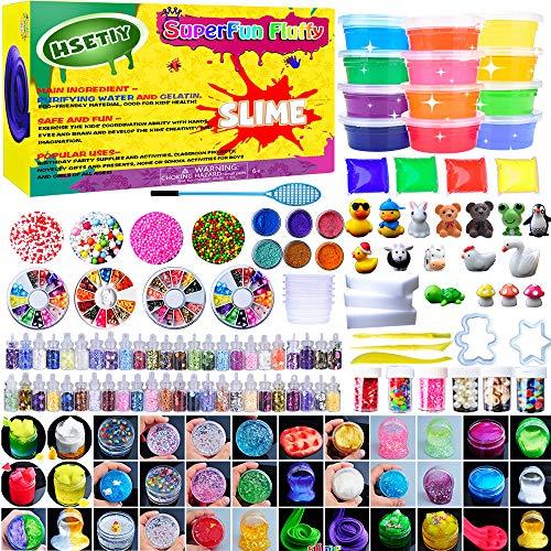 HSETIY Super Slime Set - Bolas Coloridas de Espuma de Limo y Colorido, decoración de Cara de Fruta Fresca, Polvo Luminoso, tarros de batido de Escarcha holográfica para Fango de Bricolaje
