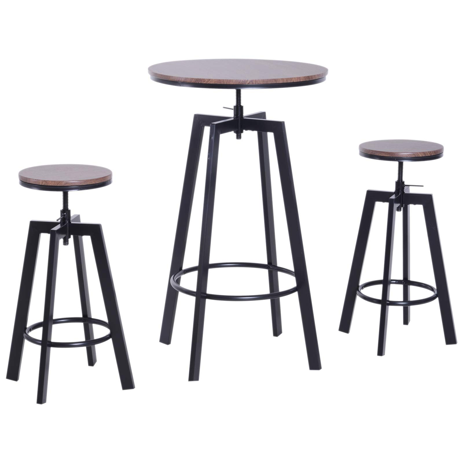 Homcom 3 Pieces Bar Table Set 2 Stools Steel Round Dining Chairs Industrial Adjustable Height Wooden Top Kitchen Pub Buy Online In Cape Verde At Capeverde Desertcart Com Productid 156195309
