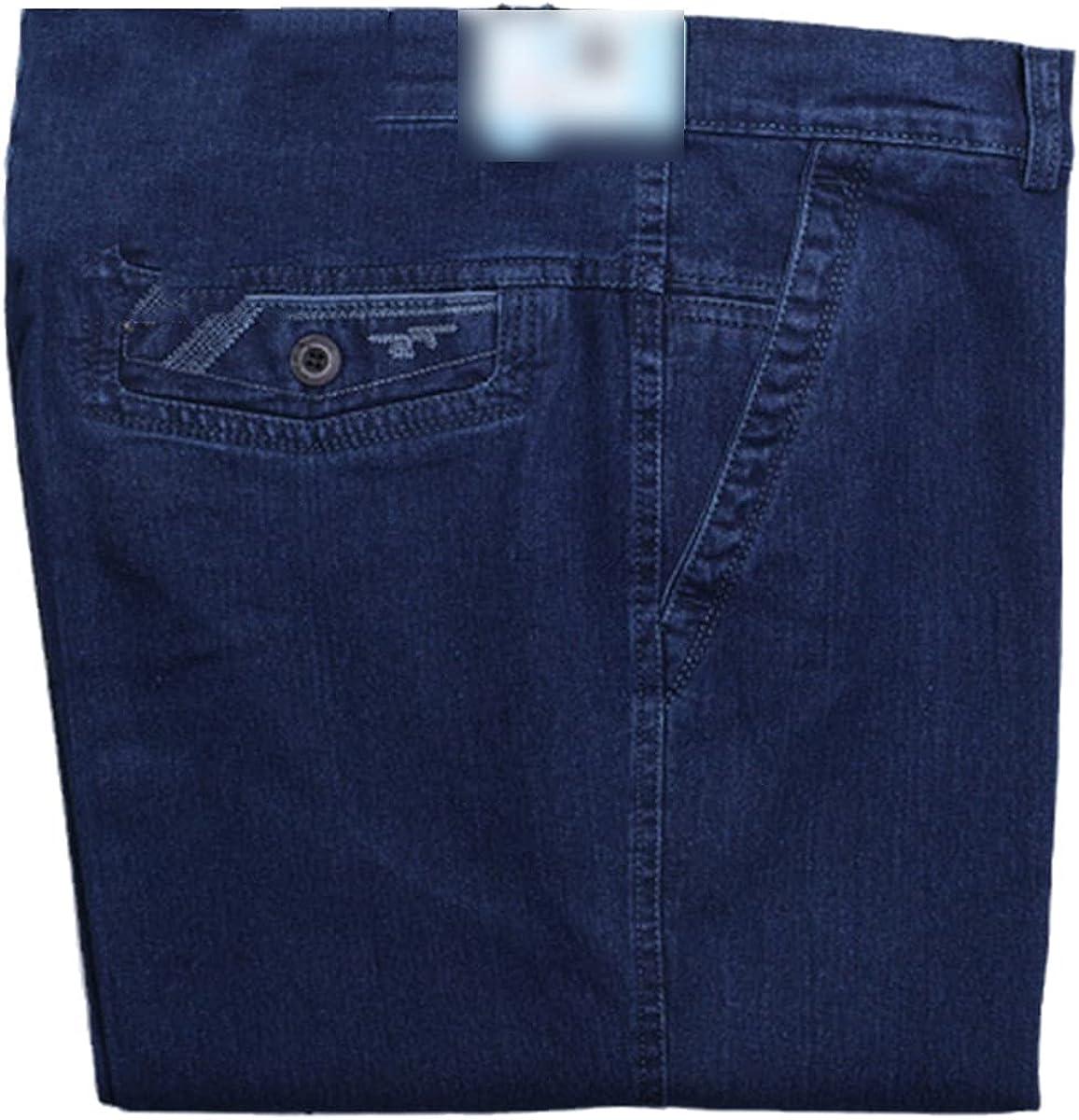 CACLSL Men's Jeans Casual Plus Size mid-Waist Straight-Leg Solid Color Trousers