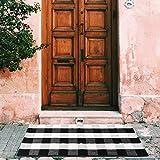 MELAJIA Buffalo Plaid Rug Hallway Black and White Checkered Runner Rug Outdoor Doormat 2' x 4.3'