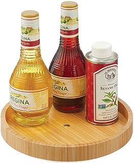 mDesign rangement à épices rotatif en bois de bambou – plateau de rangement écologique pour sel, poivre, conserves, etc. –...