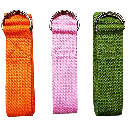 Baanuse Correa para Yoga, Yoga Cinturon, Yoga Strap, Yoga Belt, con D-Ring de Metal, 1.8M Rosa Naranja Verde 3pcs