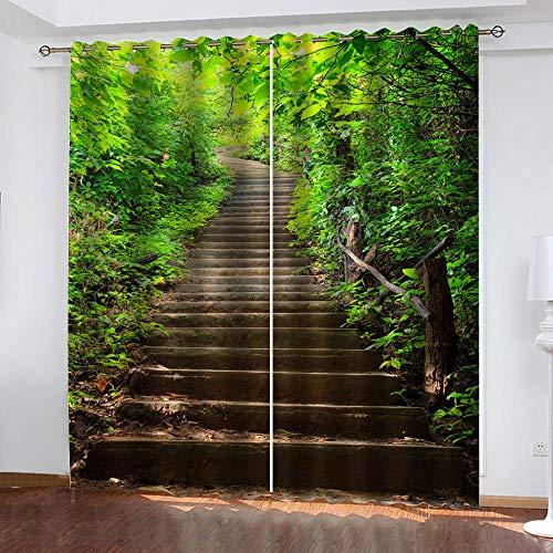 AXGTHQE Infantiles Dormitorios Cortinas Escaleras Forestales Dormitorio Infantil/Protección De La Privacidad con Cortinas De Aislamiento Térmico 182X214Cm