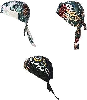 Danbanna Deluxe Lot Set of 3 Tattoo Pinup Girls True Til Death Heart Eagle Biker Durag Head Wrap Cap Hat Sweatband