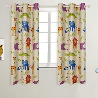 BGment Kids Blackout Curtains - Grommet Thermal Insulated Room Darkening Printed Animal Zoo Patterns Nursery and Kids Bedroom Curtains, Set of 2 Curtain Panels (42 x 63 Inch, Beige Zoo)