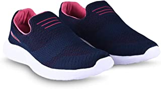 ATHLEO by Action Women Athletic ATL Knit Technolgy Sports Running Shoes | Navy-Pink | 5