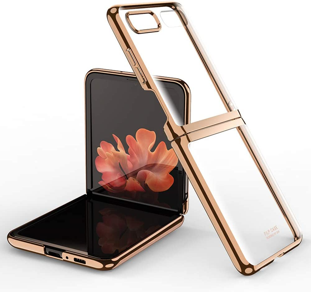 DOOTOO for Samsung Galaxy Z Flip Case Luxury Premium Plastic Plating Crystal Cover Finish Anti-Scratch Shookproof Bumper Full Protection Case for Samsung Galaxy Z Flip 5G (Clear-Gold)